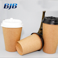 promotional business eco-friendly double wall brown kraft coffee paper cup