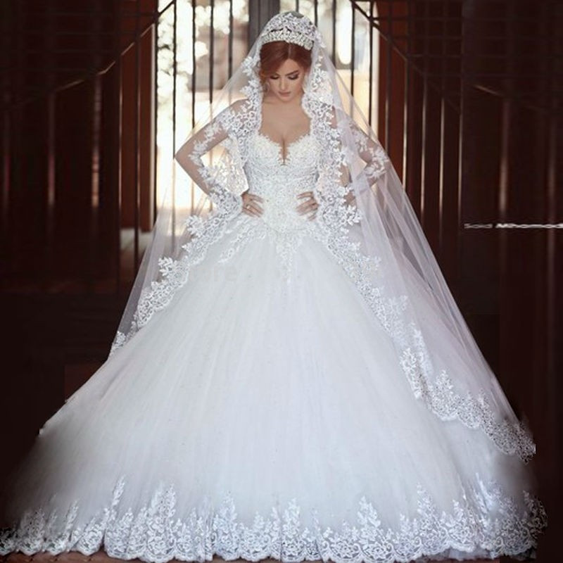 Customized Puffy Ball Gown Long Sleeves Brides Dress Wedding Gowns ...