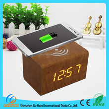 2017 Latest High-tech Multifunctional Wooden LED Alarm Clock With Wireless Phone Charger