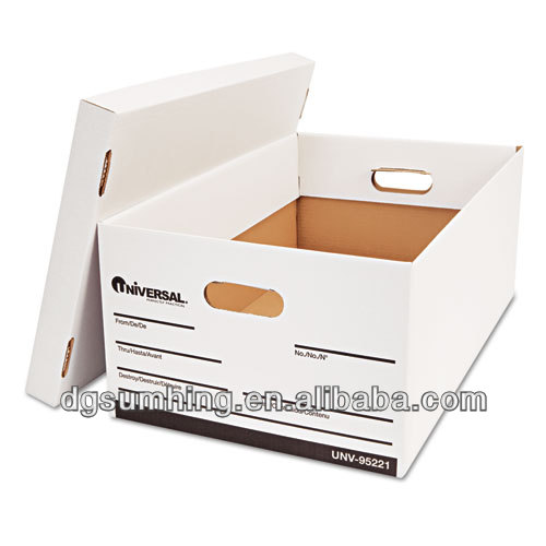 White folder portable grocery storage boxes cardboard archive storage boxes