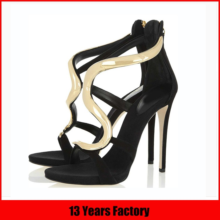 2016 Luxury fashion black leather women pencil high heel shoes for women