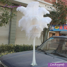 50cm hot sale white ostrich feather flower vase for wedding table decoration
