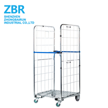 Folded Cage Cart Steel Trolley CageRolling Metal Storage Cage Laundry Roll Container