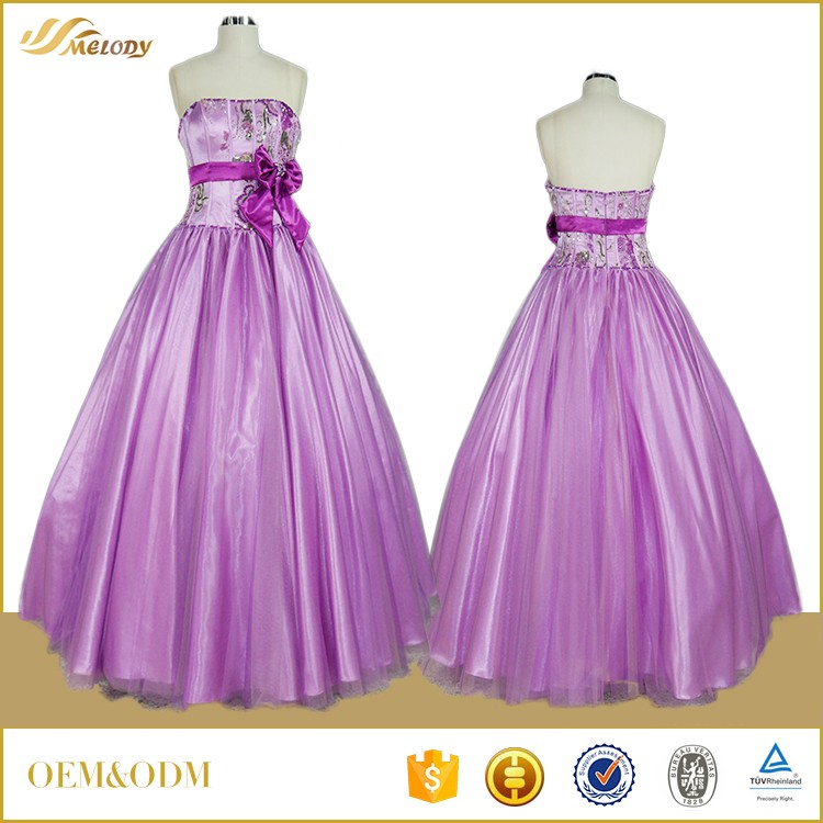 Satin bowknot waistbend western party wear dresses with ball gown design