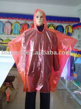 PE red/yellow/clear / blue emergency rain poncho