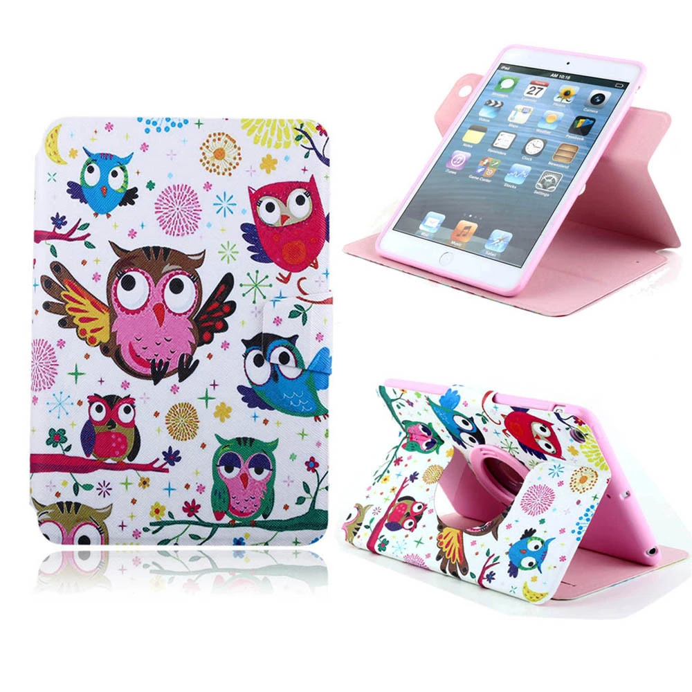 For Apple iPad mini Beautiful Cute Print Flip PU Leather Wallet Case with Photo Frame Card Holder Stand fundas Phone Cover