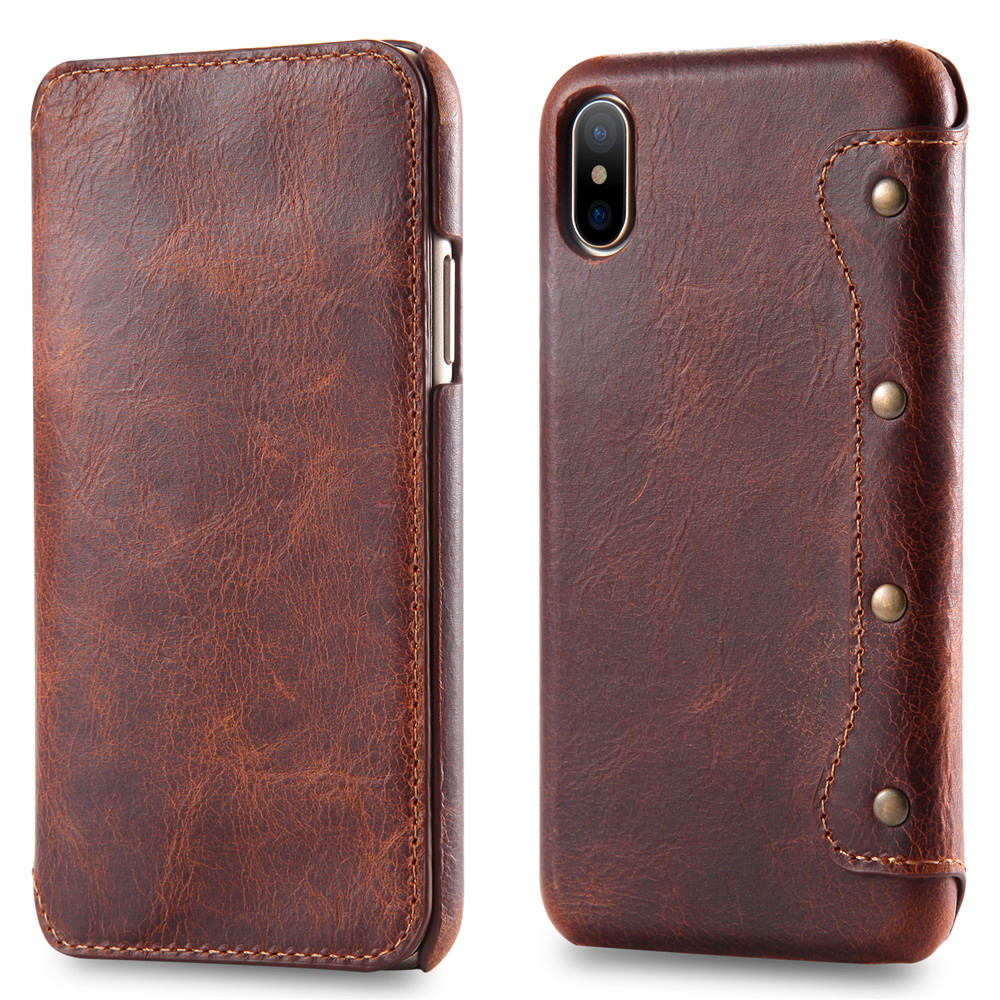 First Layer Cow Genuine Leather Mobile Case Phone <strong>Cover</strong> for Apple iPhone X Case