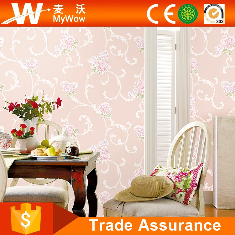 Background Pink Floral White Wallpaper Singapore with Non-woven Foaming