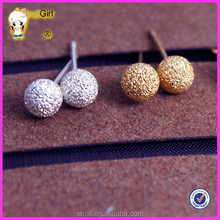 Fancy, brief and decent 18 k gold plated ball shaped stud earring