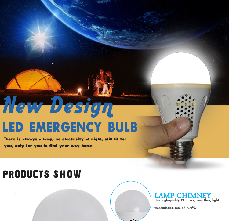 Factory Price 5w 7w 9w 12w rechargeable led emergency bulb e27