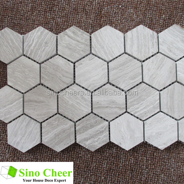 The hexagon wood grey grain marble mosaic tile,wall tile,floor tile