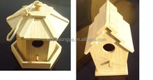 Farm Rope Hanging Small Recycle Wood Craft Wooden Bird House Nest