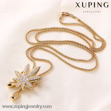 Latest design fashion 18k gold color diamond necklace