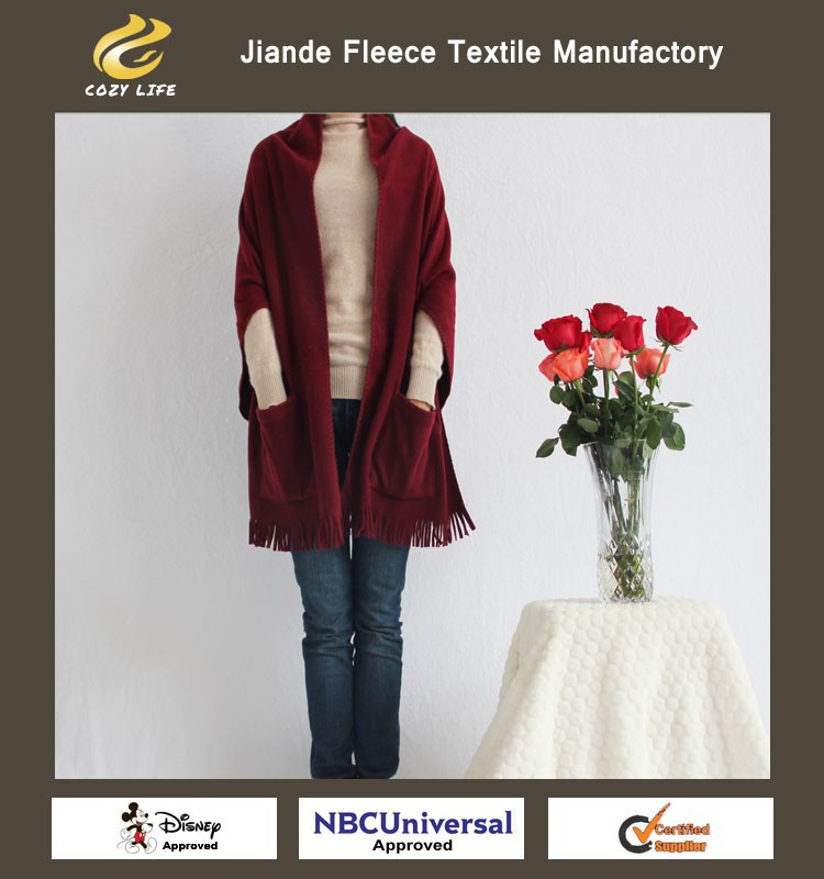 women's fashion polar fleece shawl burgundy color scarf poncho China Wholesale factory in Jiande newest design best price