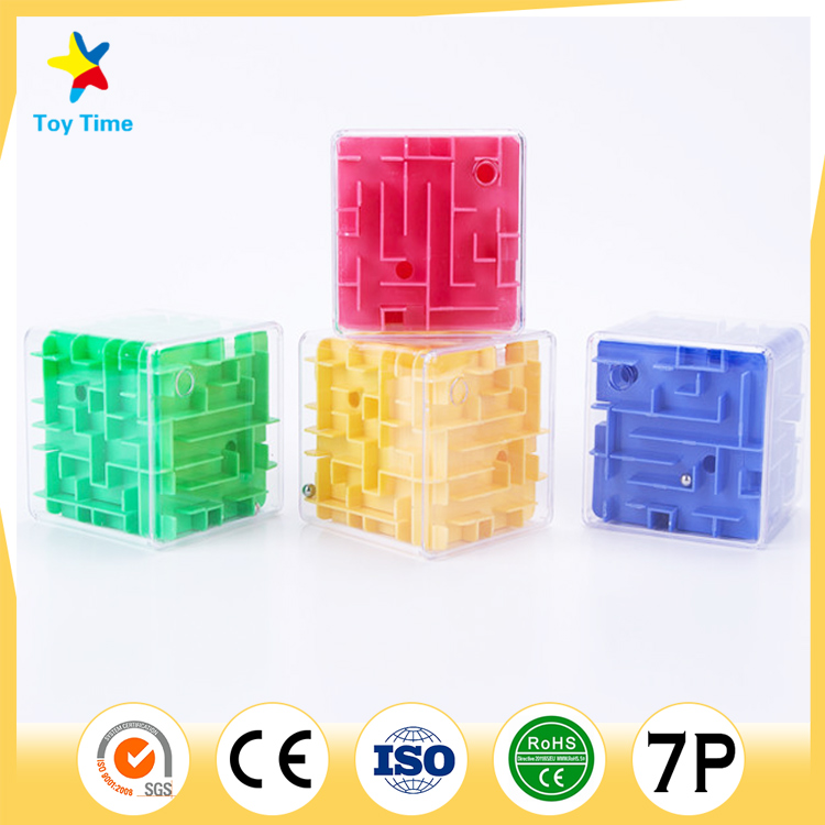 Four Color Early Age Educational Toy Kids Transparent 3D Maze game cube