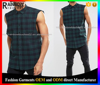 Mens sleeveless check shirt in green with raw sleeve seams