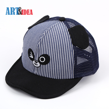 Striped 6 panel polyester canvas navy embroidered children cap