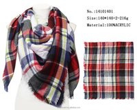 Brand New England Plaid Pattern Square Scarf Young Girls Winter Warm Knitting Scarfs