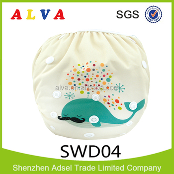 Alva New Designs for Baby Swimming Nappies Reusable and Washable Swim Diaper