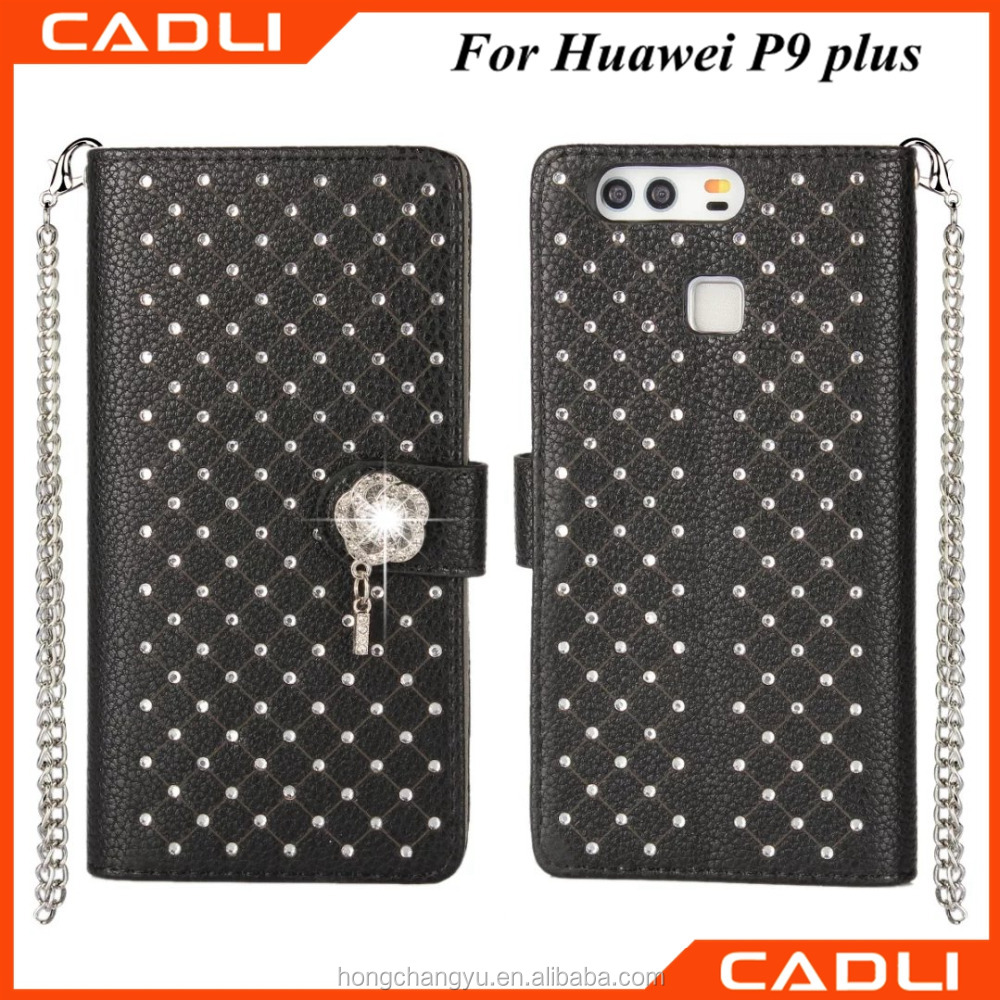 new arrival book shape pu Flip leather diamond phone case for Huawei P9 MAX