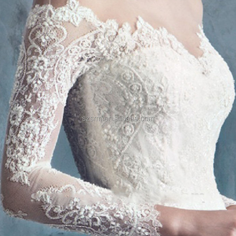 Charming Lace Appliques Mermaid Wedding Dress 2018 White Long Sleeves Off The Shoulder Tulle Bridal Gowns