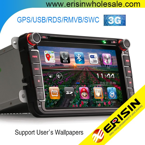 "Erisin ES9711V 8"" Car Navigator GPS DVD Radio 3G Audio for Touran"