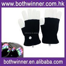 Gloves with light up nails ,H0T472 dance sequin gloves , decorate your gloves black light up glove