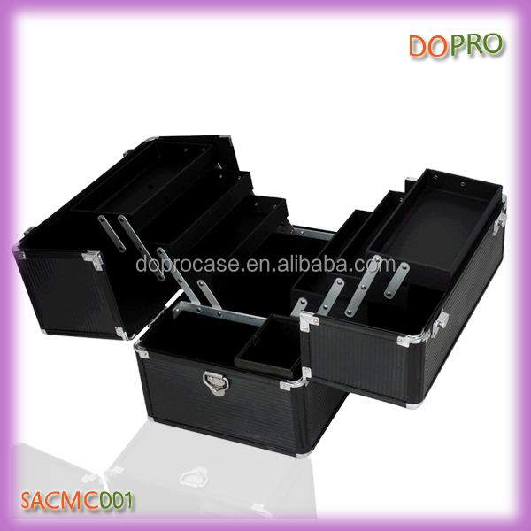 Hot style cosmetic makeup suitcases with brush holder box