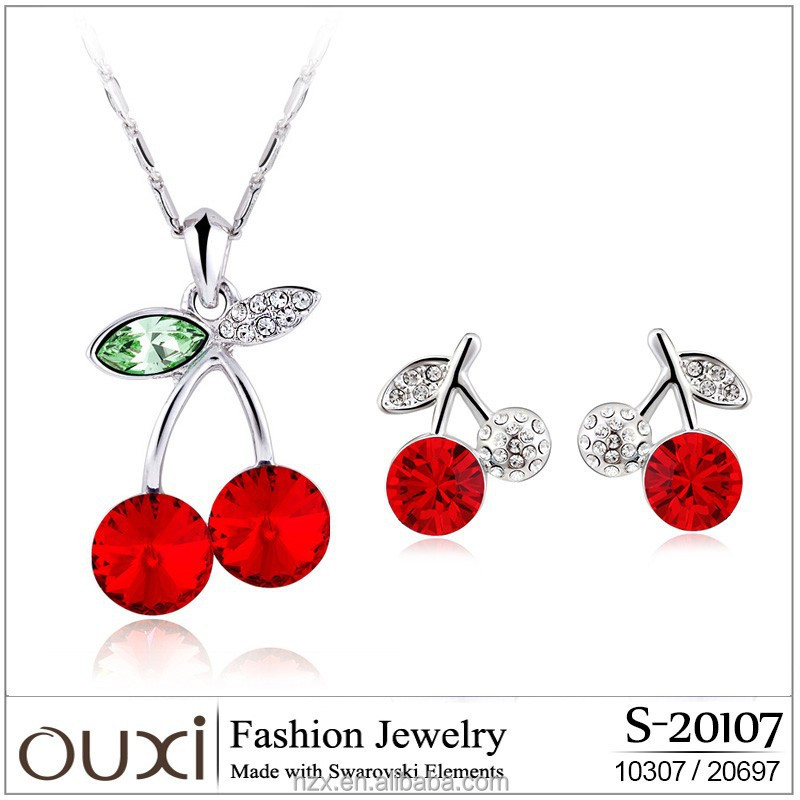 OUXI charm gold plated red cherry diamond necklace set S-20107