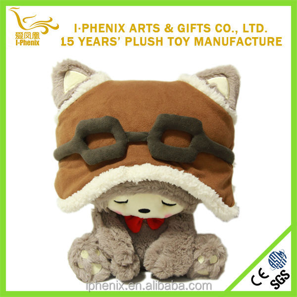 New design cute cat toy with hat lifelike cat plush toy for babies