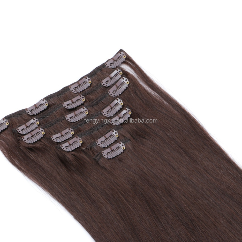 high quality Brazilian straight weave clip in human hair extension for black women