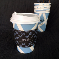 12oz printed paper coffee cups with sleeve and lid