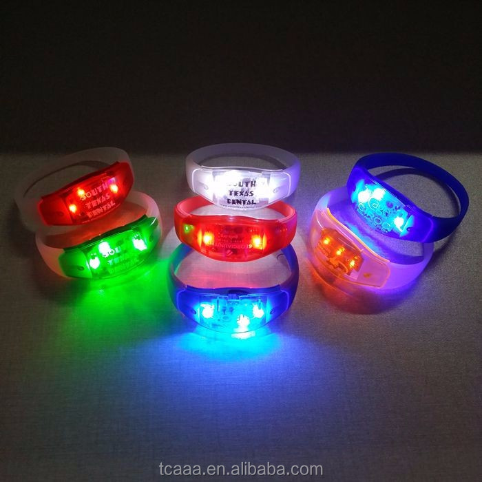 Factory supplier sound control led glitter silicone bracelet
