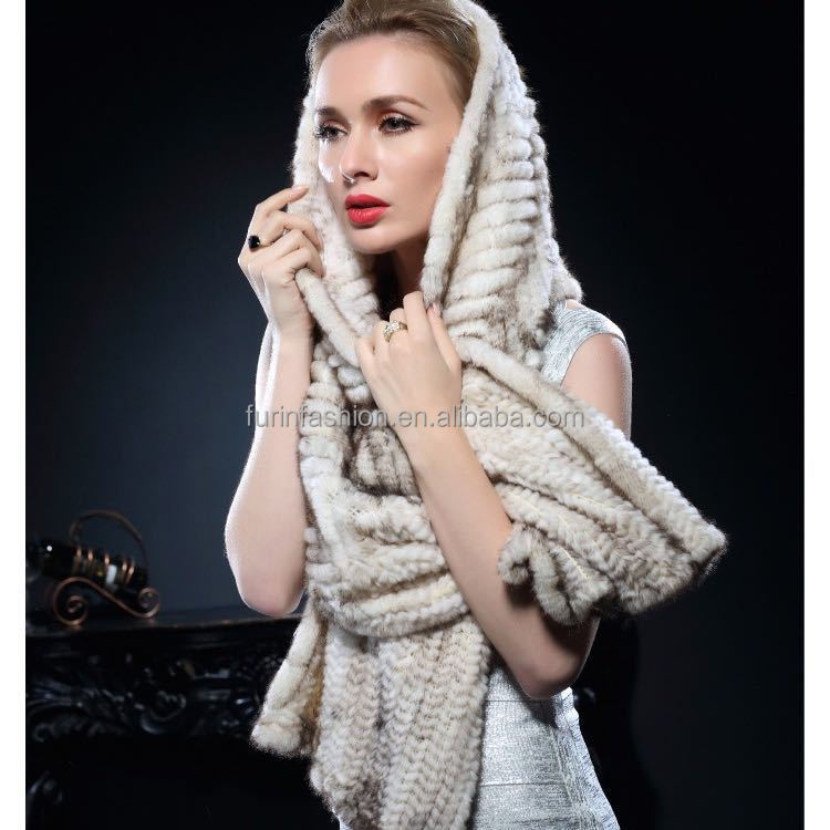Direct Selling Genuine Women's Knitted Mink Fur Shawl and Stole for Fashion Ladies with Cheap Price