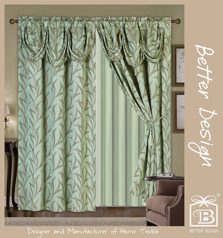 2pcs Green Jacquard Valance Fabric Curtains With Taffeta Backing And Tassels in Arab Style Design For Arabic Home