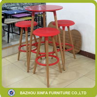 Color Powder Coating Round Solid Wooden Tall Leg And MDF Top Bar Table And Leather Chairs