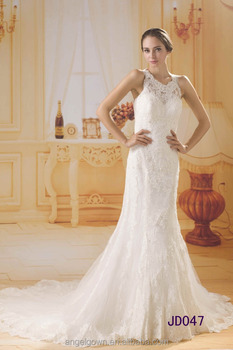 luxury heavy beaded halter lace mermaid fish tail wedding dress gowns with long train 2016