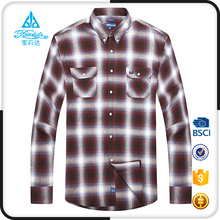 Cotton mens padded check shirt long sleeves brown check pattern shirts