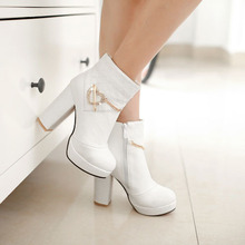 S4081golden metal decoration platform shinny white luxury boots