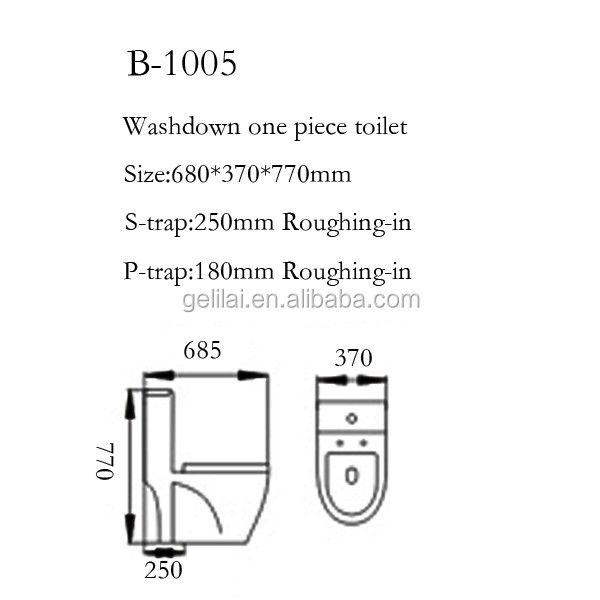 European style bathroom water closet porcelain toilet gravity flushing toilet with s/p-trap