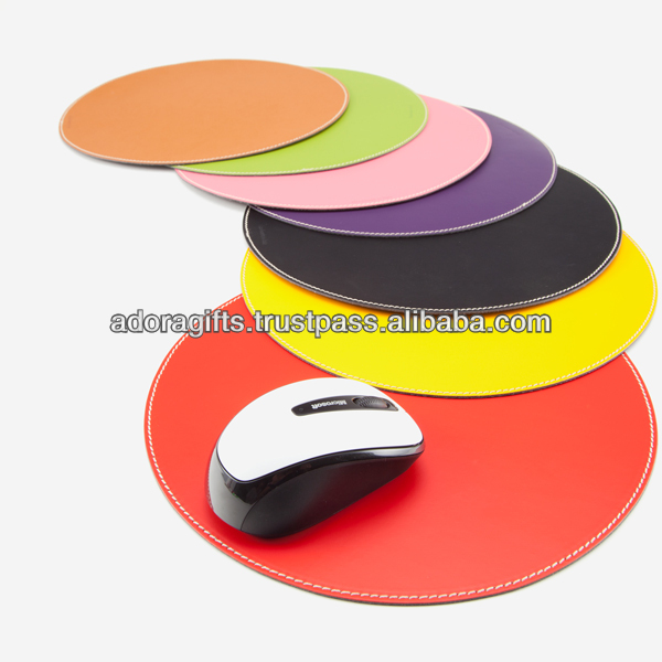 Personalized circle leather mouse pad