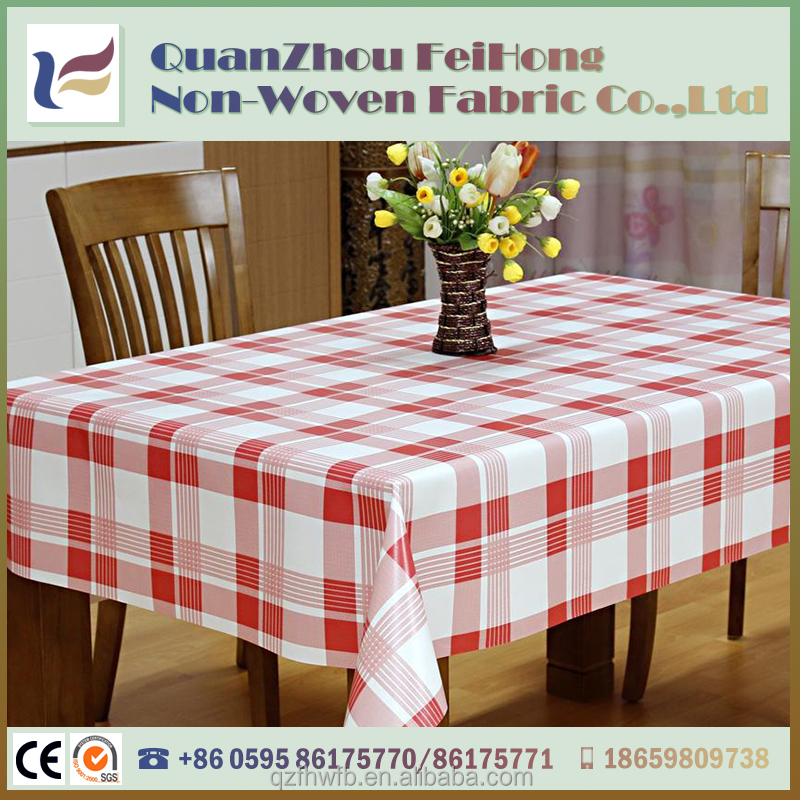 new design printed red gird pattern waterproof pp printed non-woven table cloth