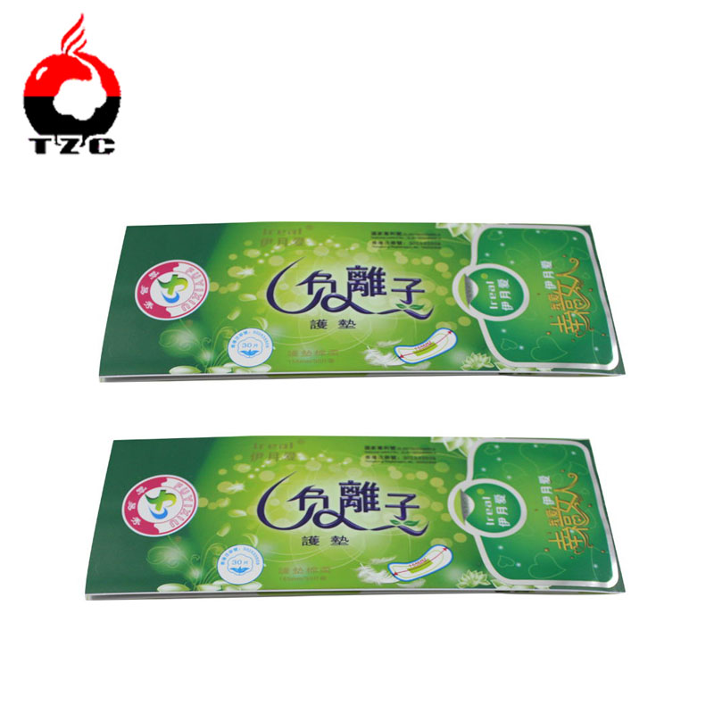 women's sanitary napkin packaging plastic bag with sticker