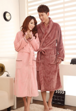 hot!! autumn winter thickening coral fleece flannel robes lovers pajamas men women sleepwear warm lounge nightgown homewear