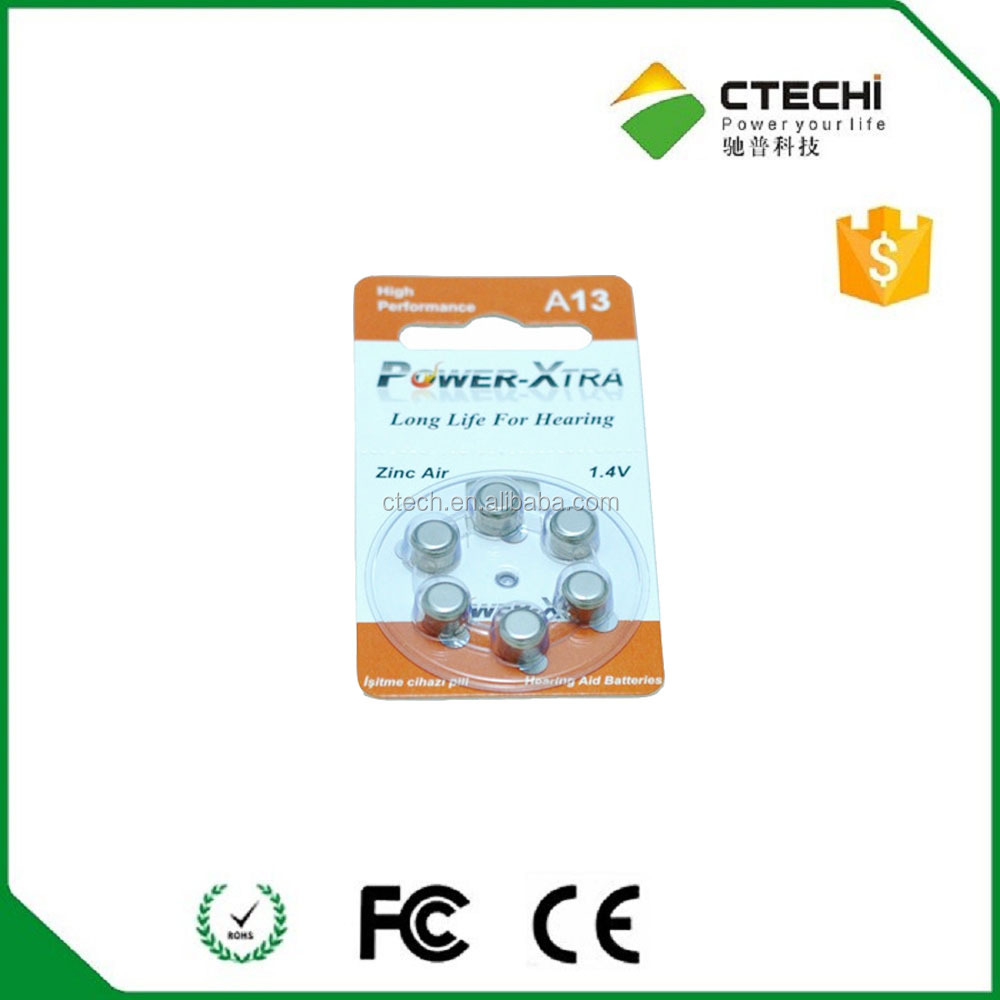 Hearing aid battery 1.4v zinc air button cell battery A10 A13 A675 A312 in Blister card