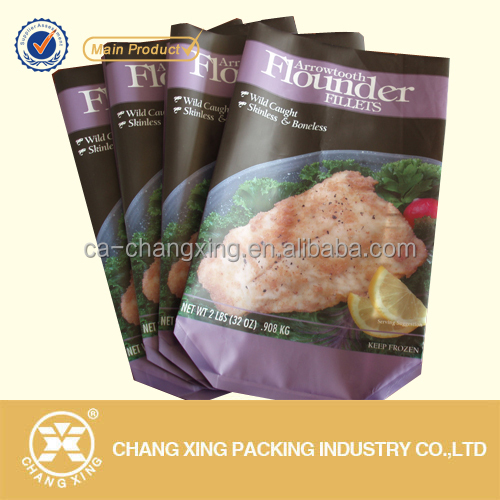 Customized freezer food packaging aluminum plastic side gusset bags for packing frozen food/sea food/steak