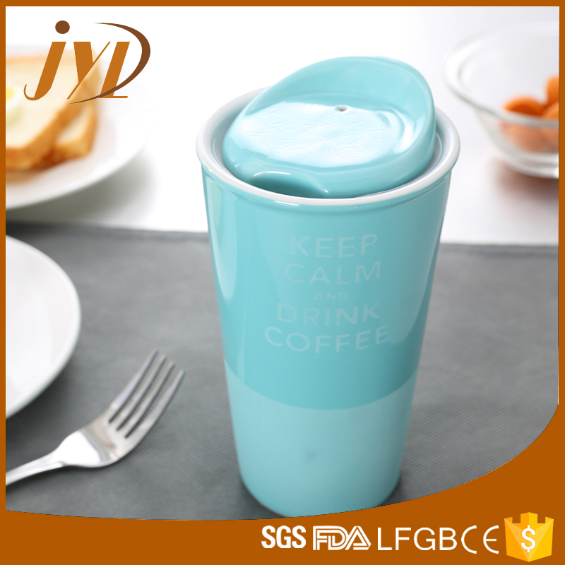 New design 320cc travel ceramic coffee mug with cover