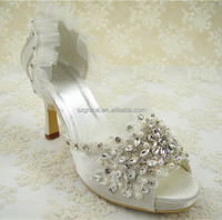 Handmade Lace Crystal Bridal Shoes Peep Toe Rhinestone Wedding Shoes comfortable wedding shoes