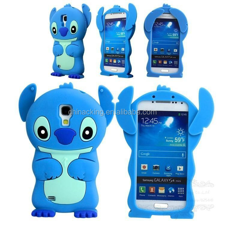 3D Stitch Cartoon Blue Silicone Soft Cover Back Phone Case For Samsung Galaxy s4 Mini