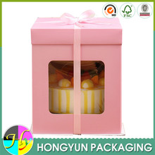 Wholesale favorable price tall cake paper box with PET window